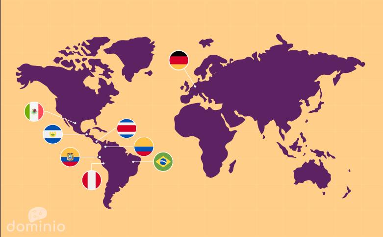 Mapa de presencia de Domino Estudio en el mundo